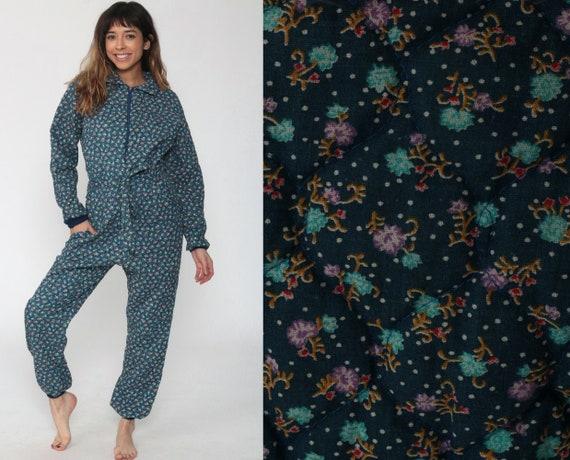 Quilted Pajama Jumpsuit Blue Floral Lounge Pants Women Sleep Pajama Jumpsuit 70s PJs Retro Vintage Adult Pajamas Medium