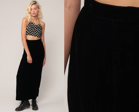 Black Velvet Skirt Pencil Skirt 80s Maxi SIDE SLIT High Waisted Wiggle Gothic Grunge Retro Vintage High Waist Party Goth Extra Small XS