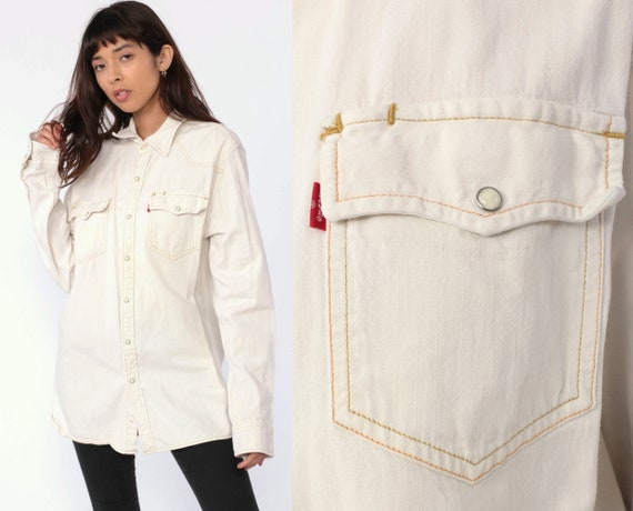 90s Levis Denim Shirt -- Off White Pearl Snap Button Up Shirt Jean Shirt Grunge Long Sleeve Cotton Oversized Button Down Large