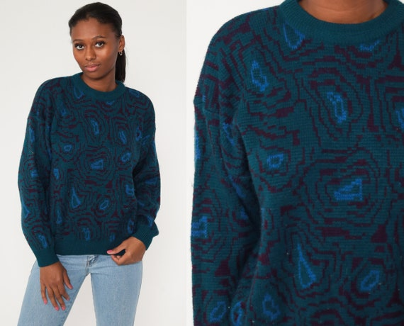 80s Abstract Sweater 1980s Teal Green Blue Print Knit Jumper 1990s Statement Grunge Pullover Crewneck Medium Large