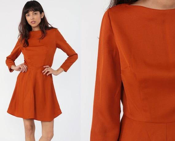 Burnt Orange Dress 70s Dress Boatneck Mod Mini Gogo Fit and Flare Boat Neck Vintage 1970s Long Sleeve Minidress Go Go Small 6