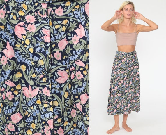 Floral Midi Skirt 90s Grunge Button Up Boho Print HIGH WAISTED 80s Long Vintage Hippie Festival Hipster Blue Rayon Pink Small s