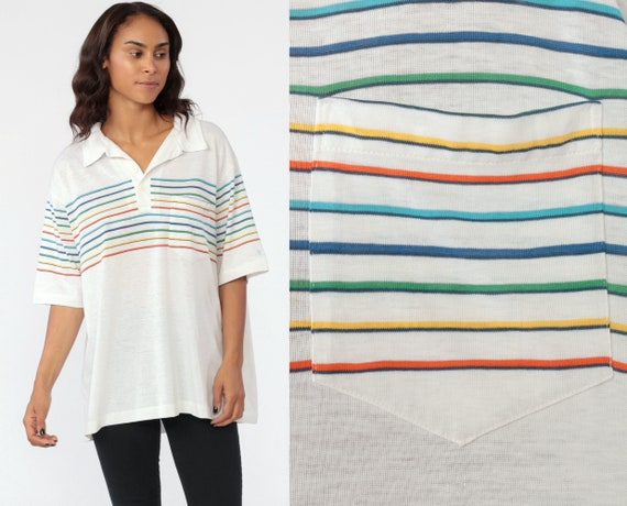 Rainbow Striped Shirt -- Polo Shirt Stripes Tshirt Burnout White Half Button Up 80s Retro Stranger Things 1980s Thin Vintage Extra Large XL