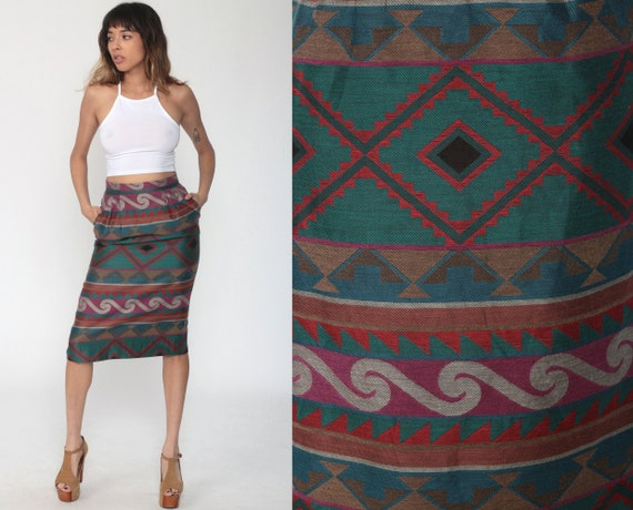Tapestry Wiggle Skirt 80s High Waisted Midi Pencil Wiggle Geometric Skirt Retro Vintage Retro Secretary Skirt Printed 1980s extra small xs