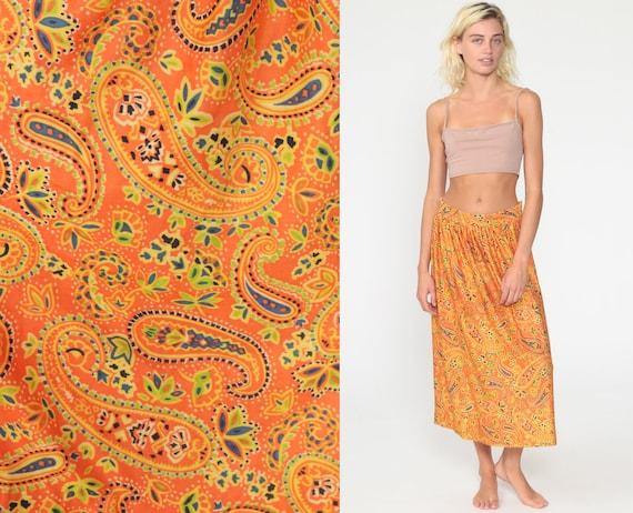 Bohemian Paisley Skirt Orange Psychedelic Skirt 70s Boho Midi High Waisted Vintage Hippie Festival Small Medium