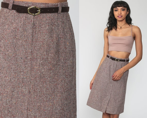 Tweed Pencil Skirt With Belt 70s High Waisted Wiggle Knee Length Burgundy Retro Vintage Party Skirt Office 80s Secretary Extra Small xs