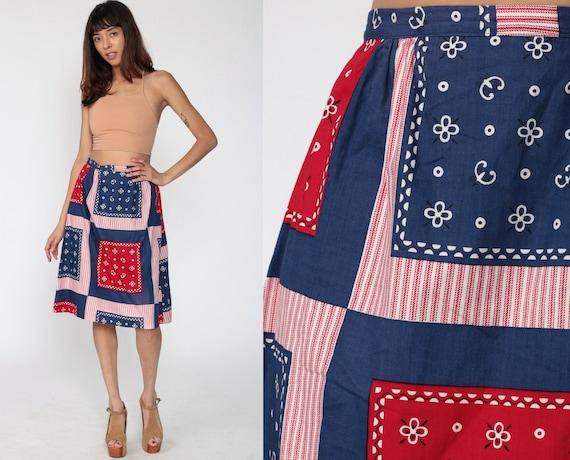 Bohemian Hippie Skirt Handkerchief Skirt Midi 70s Patchwork Print High Waisted Scarf 1970s Boho Vintage Bohemian Retro Red Blue Small 4