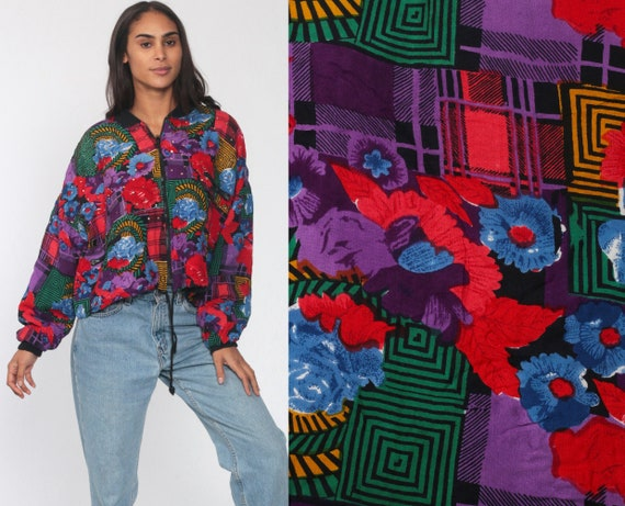 Sequined Floral Jacket 90s Geometric Windbreaker Cropped ZIP UP Plaid Print 1990s Streetwear Red Purple Vintage Retro Small Medium Large