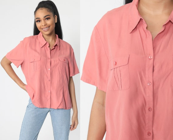 Pink Silk Shirt Button Up Shirt 90s Pink Short Sleeve Blouse 1990s Oversized Grunge Streetwear Vintage Retro Plain Top Large