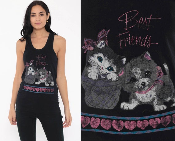 Puppy & Kitten Shirt BEST FRIENDS Cat Tank Top Dog Animal Top 90s Graphic Kawaii Cute Retro Tee 890s Vintage Medium