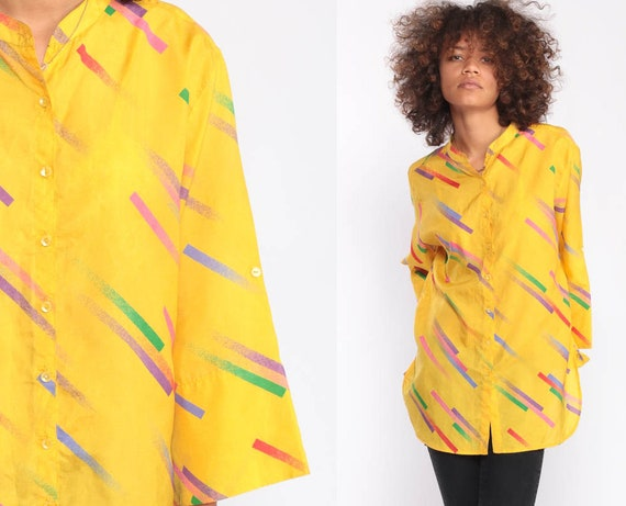 Yellow Blouse Striped Shirt 80s Button Up Shirt Bright Tunic Top Vintage Long Wide Sleeve Mandarin Collar 1980s Summer Top Large
