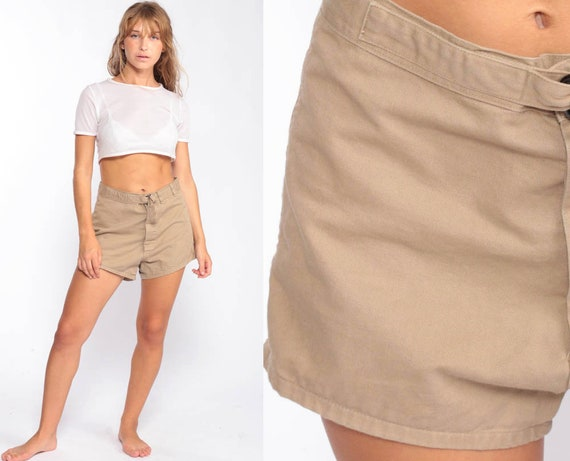 Khaki Shorts 70s Shorts High Waisted Shorts Mom Shorts Hiking Boho Hippie Cotton Tan Vintage Hipster Retro Hi Rise Waist medium 10 30