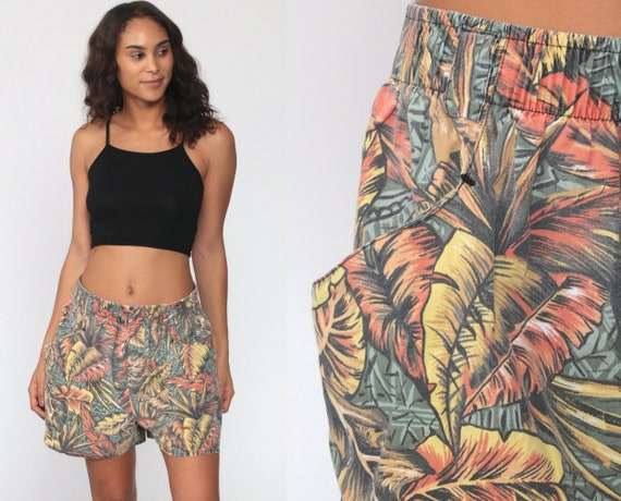 Tropical Shorts 80s High Waisted Shorts LEAF PRINT Summer Cotton Hippie Boho Retro Hipster 90s Vintage Yellow Medium Large