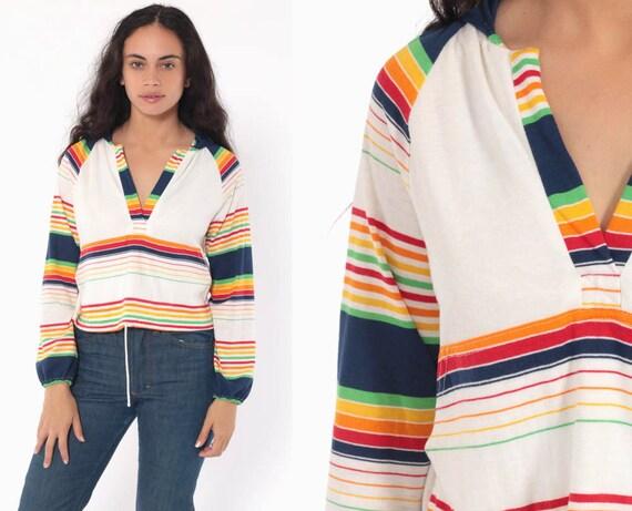 Hooded Rainbow Shirt Bohemian Top Striped Blouse 70s Hippie Shirt Hood Festival Boho Top 1970s Hoodie Long Sleeve Small Medium