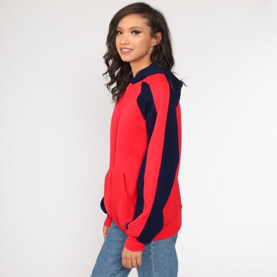 Hoodie Sweatshirt Red Zip Up Sweatshirt 80s Hoode… - image 4