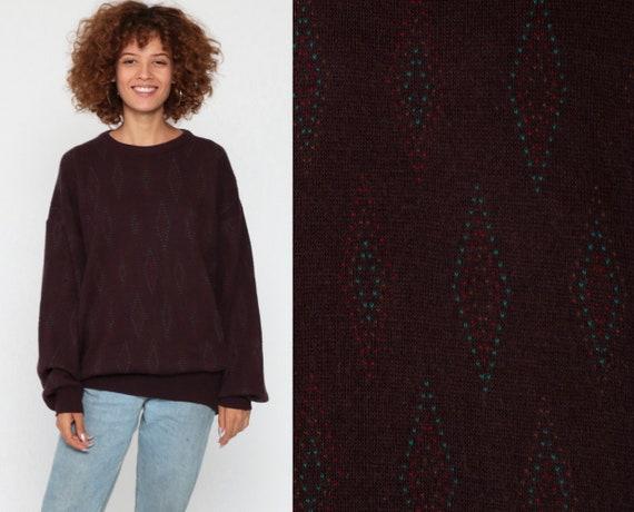 Wool Blend Sweater Burgundy Geometric Sweater 80s Italian DIAMOND Print Boho Knit Jumper 1980s Bohemian Vintage Pullover Medium Large