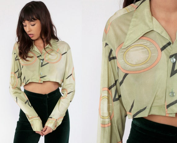 70s Button Up Shirt Geometric Print 1970s Blouse Green Collared Button Up Vintage Long Sleeve Blouse Shapes Print Small Medium