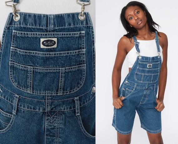 Denim Overall Shorts Jean Overalls 90s Grunge Jean Pocket Bibs Blue Streetwear Woman 1990s Vintage Cargo small