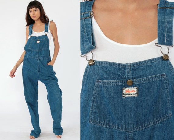 Vintage Osh Kosh Overalls OshKosh Jeans Bib Overalls 80s Denim Grunge Pants Long Blue Dungarees Coveralls Vintage Small Long Tall