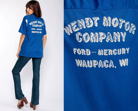 Uniform Shirt WENDT MOTOR COMPANY Shirt Grant 70s Waupaca Wisconsin Shirt Bowling Rockabilly Punk 1970s Button Up Vintage Extra Large xl
