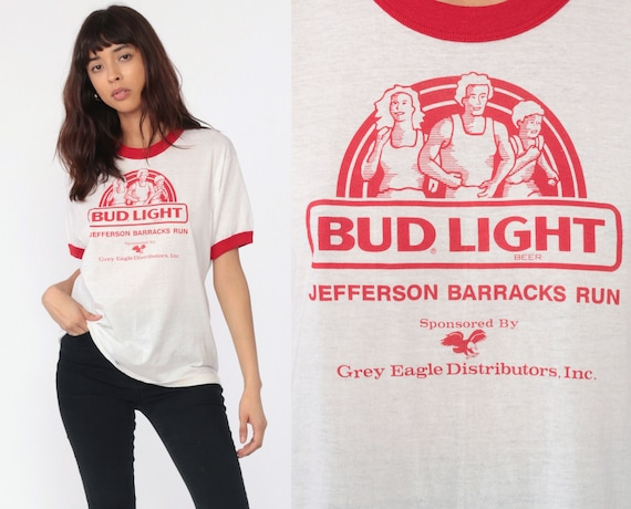 Budweiser Shirt 80s BEER Tshirt Bud Light Shirt Ringer Tee Jefferson Barracks Run T Shirt Graphic Tee 1980s Vintage Burnout Medium Large