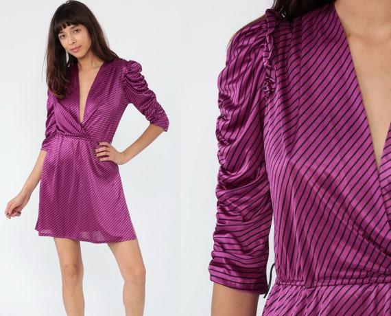 80s Puff Sleeve Dress Purple Striped Dress Mini Deep V Neck High Slit Party 1980s Disco Plunge 70s High Waisted Glam Minidress Small