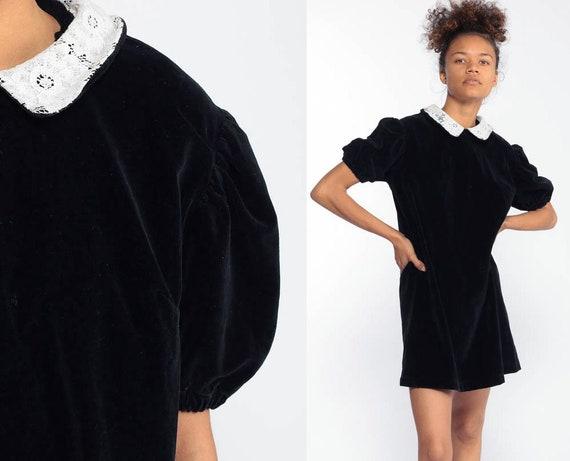Velvet Mini Dress Lace PETER PAN Collar 80s Grunge Party Black Puff Sleeve Goth Shift 80s Cocktail Vintage Gothic Medium