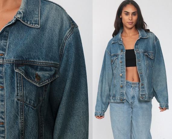 Blue Jean Jacket 90s Denim Jacket Button Up Denim Jacket 1990s Vintage Biker Trucker Grunge Coat Pockets Basic Retro Medium