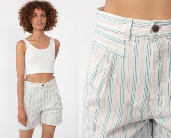 Striped Jordache Shorts 80s Jean Shorts PLEATED Mom Shorts Pastel Pink Blue White Cut Off High Waisted 90s Vintage Cutoffs Extra Small xs 2