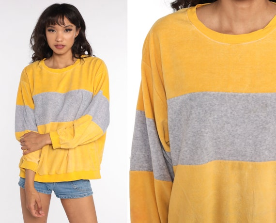 Yellow Velour Sweatshirt -- Color Block Shirt Slouchy 80s Grey Pullover Jumper 1980s Striped Slouch Vintage Long Sleeve Extra Large xl