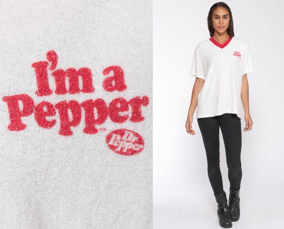 Vintage Dr Pepper Shirt Terry Cloth Shirt 70s T Shirt Terrycloth Tshirt 80s Ringer Tee Retro Tee Vintage Short Sleeve Extra Large xl l