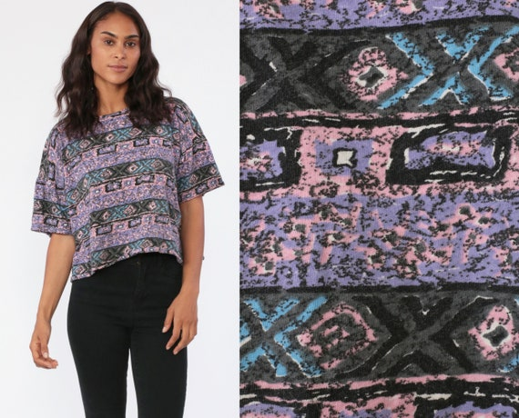 Geometric Crop Top Tribal T Shirt 80s Striped Surfer TShirt Streetwear Tee Short Sleeve Vintage Cropped Shirt 1990s Aztec Purple Medium