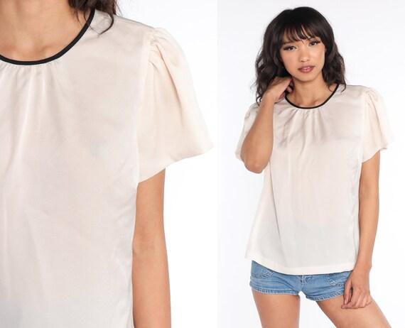 Y2K Blouse Flutter Puff Sleeve Shirt 00s Short Sleeve Vintage Cream Loose Fitting Shirt Medium