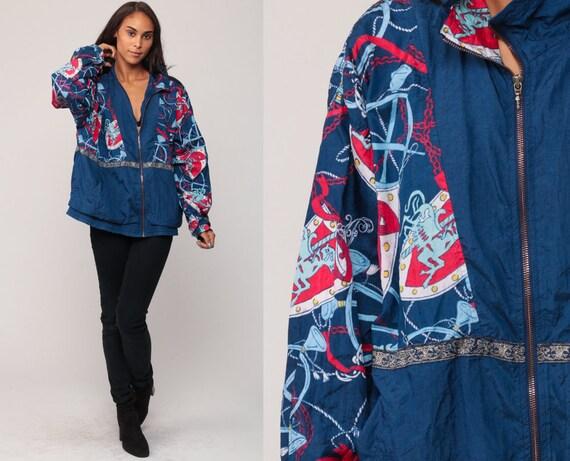 90s Windbreaker CAROUSEL HORSE Baroque Jacket 80s Coat Slouchy Track Jacket Oversized Hipster Vintage 1980s Blue Retro Large