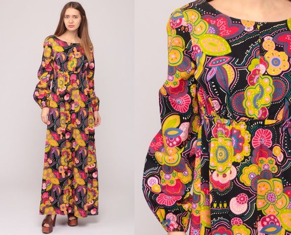 70s Hippie Dress Maxi BACKLESS Dress 1970s Boho Floral Print Open Back Empire Waist Bohemian Vintage Black Long Sleeve Full Length Large