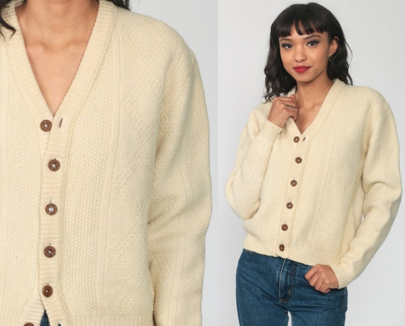 Cream Wool Cardigan Cable Knit Sweater 70s Boho Cream Bohemian Fisherman Chunky Grandpa Vintage 80s Button Up Cableknit Small