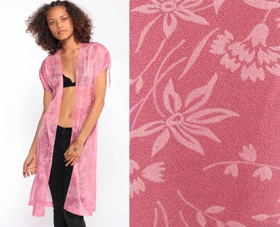 Sheer Floral Jacket Pink Kimono Floral Print 70s Bohemian HIGH SLIT Vintage Boho Hippie Festival 1970s Small