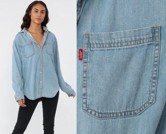 Levis Denim Shirt Button Up Shirt Levi Jean Shirt 90s Blue Grunge Long Sleeve Cotton Oversized Button Down Levi Strauss Medium