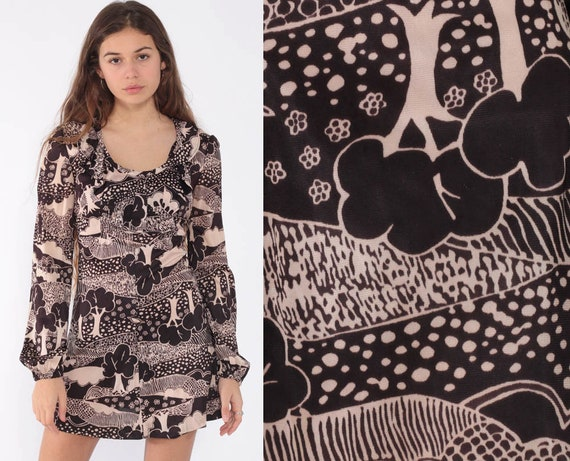 Tree Print Babydoll Dress MICRO Mini 70s Boho Mod Psychedelic Dress Ruffle Acid Festival 1970s Bohemian Top Hippie Vintage Minidress Small