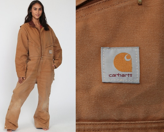90s Carhartt Coveralls Brown Overalls Baggy Jumpsuit Pants Work Wear Coveralls Pants Workwear Long Wide Leg Jeans Vintage Medium Large