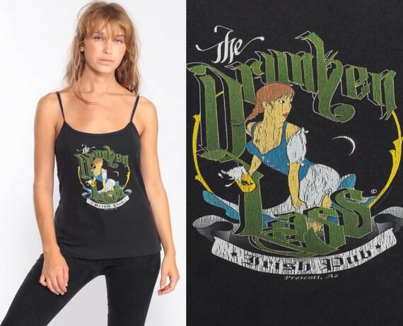 Bar Shirt DRUNKEN LASS Tank Top 90s Irish Pub Shirt Pin Up Girl Black Camisole Graphic Vintage Pinup Retro Medium Large