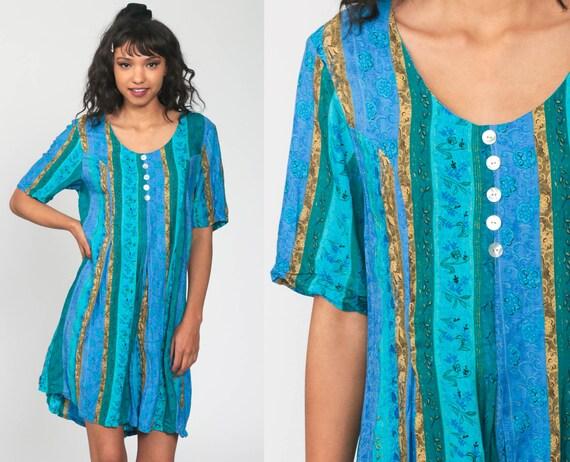 90s Floral Romper Dress -- Turquoise Striped 1990s Grunge Playsuit Mini Dress Short Sleeve Button Up One Piece Woman Skort Onesie Medium