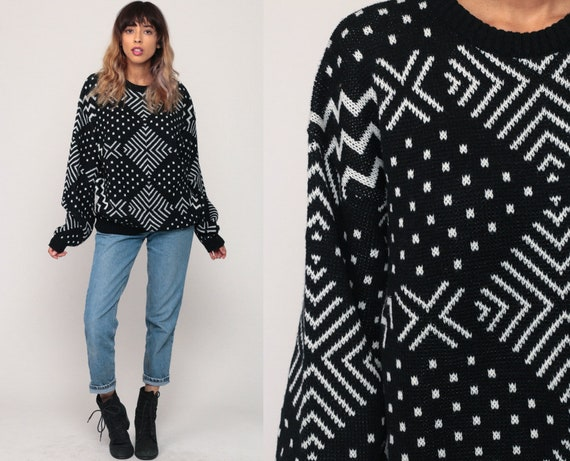 Black and White Sweater 80s Sweater Geometric Print Knit Jumper Polka Dot Sweater Hipster Statement Vintage Pullover 90s Retro Large