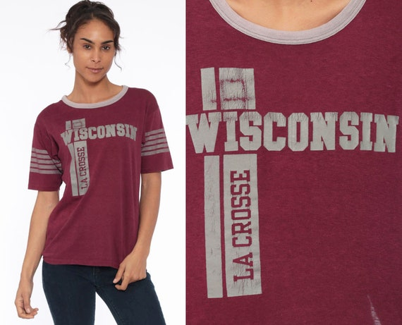 80s WISCONSIN University T Shirt Lacrosse Ringer Tee 1980s Burgundy Tshirt Wisconsin State College Graphic Retro Vintage Small Medium
