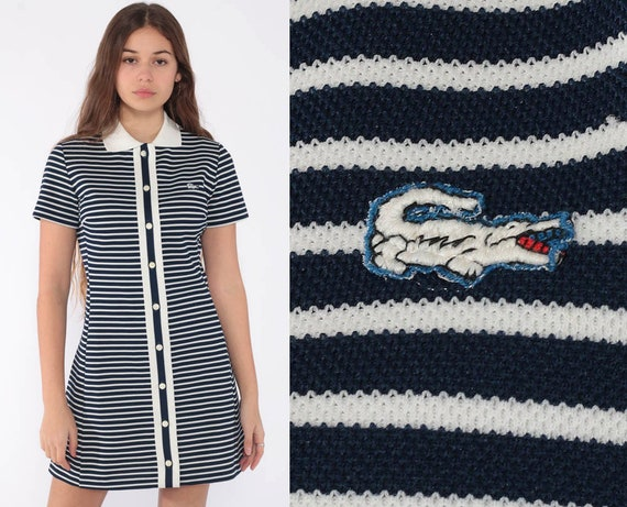 60s Lacoste Dress Striped Mod Mini Dress 60s Shift Crocodile Space Age 1960s Twiggy Blue 70s Vintage Chemise Minidress Small