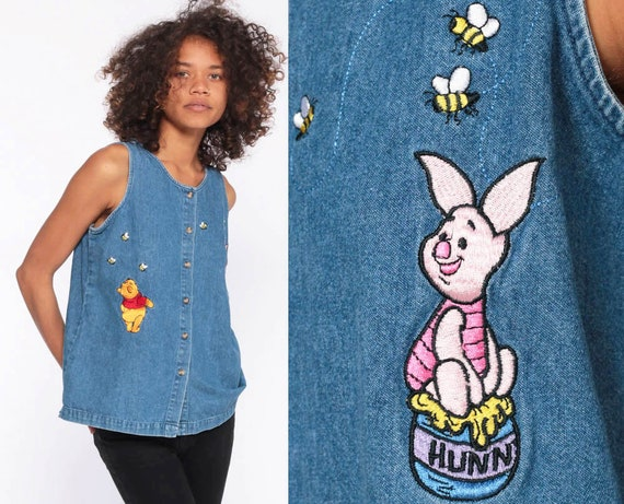90s Disney Denim Shirt -- Winnie The Pooh Shirt Piglet Denim Shirt Disney Button Up Top Sleeveless 90s Vintage Blouse Extra Small XS