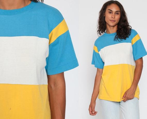 80s Striped TShirt -- Bright T Shirt Yellow Blue Retro Tee Vintage Color Block Minimalist 1980s Simple Basic Short Sleeve Small Medium
