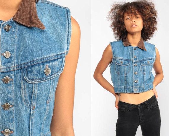 Denim Shirt Crop Top Jean Vest Top 90s Jean Shirt Sleeveless Jean Jacket Blue Biker Top 1990s Grunge Vintage Button Up Extra Small xxs  2xs