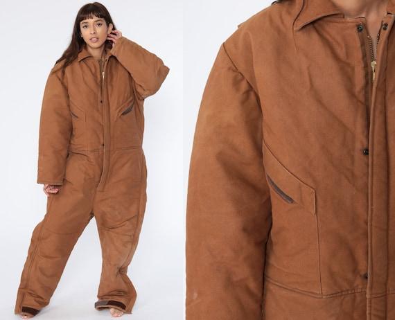 Y2K Coveralls Pants Jumpsuit Insulated Coveralls 1990s Workwear One Piece Work Wear Brown Vintage Pantsuit Men's Medium Regular