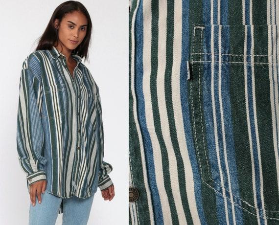 Levis Denim Shirt 90s Striped Green Button Up Shirt LEVI STRAUSS Grunge Long Sleeve Cotton Oversize Button Down 1990s Extra Large XL